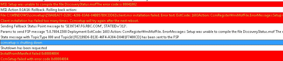 SCCM 2012 Client Installation failure – The error code is
